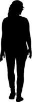 Black silhouette woman standing, people on white background