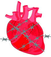 Heart of the person tangled in barbed wire