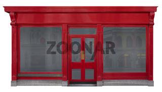 Schaufensterfassade mit roter Vorderansicht in Holz freigestellt auf weißem Hintergrund