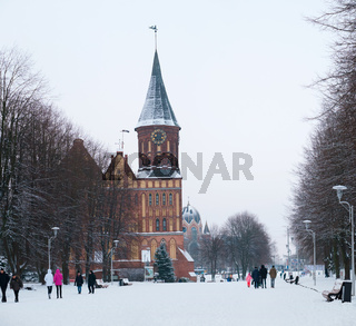 Cathedral in Kaliningrad, winter Cathedral of our lady and St. Adalbert, brick Gothic, grave of Immanuel Kant