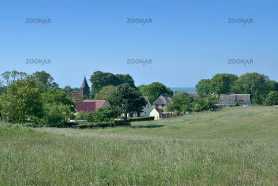 Village of Gross Zicker at Moenchgut region,Ruegen,baltic Sea,Mecklenburg western pomerania,Germany