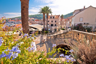 Korcula town gate and historic architecture view