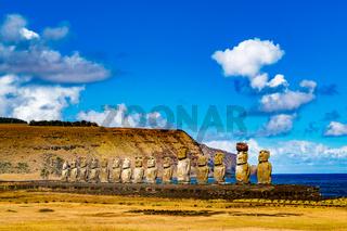 Moai in Ahu Tongariki at Rapa Nui National Park on Easter Island
