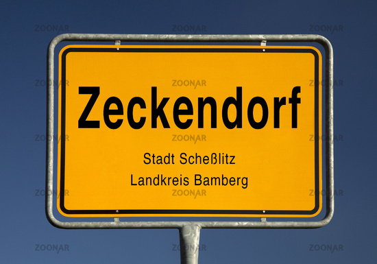 Entrance sign, district of the city of Schesslitz, Bamberg district, Bavaria, Germany,