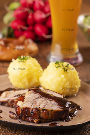 Bavarian roast pork with potato dumpling