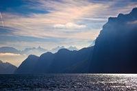 Lake Luzern alpine cliffs and dramatic lights view