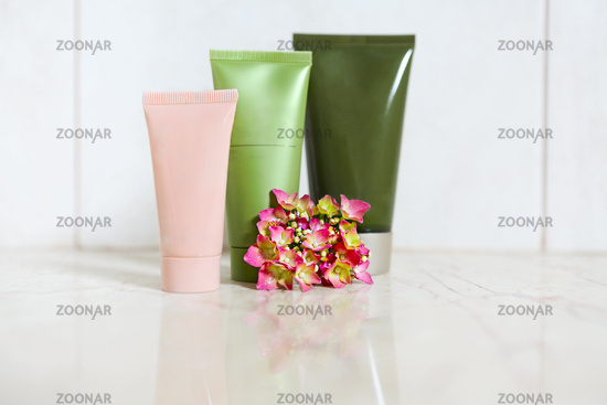 Face cream, serum, lotion, moisturizer and face oil among hydrangea