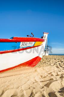 handbemaltes farbenfrohes fischerboot