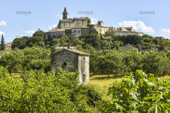 old small village Grillon with orchard and fig tree