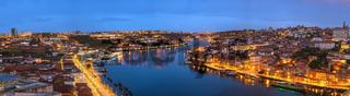 Porto Portugal night panorama city skyline at Porto Ribeira and Douro River