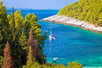 Korcula. Pupnatska Luka cove on Korcula island sailing destination view