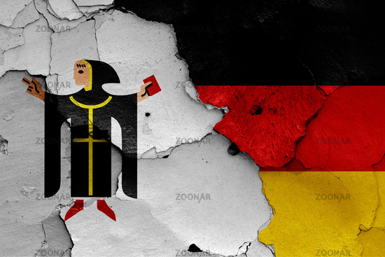 flags of Munich and Germany painted on cracked wall
