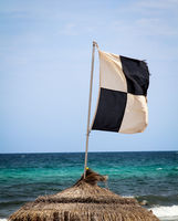 flags on the beach indicate dangers