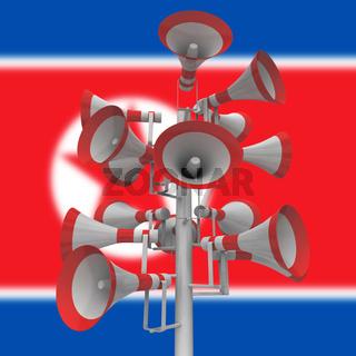 Propaganda Megaphones From North Korea Dictator 3d Illustration
