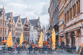 Market place in Antwerp on a cloudy autumn day