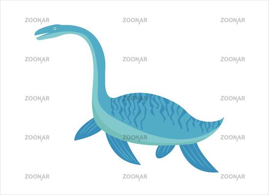 Plesiosaurus icon flat style. Isolated on white background. Vector illustration