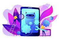 Chatbot app development concept vector illustration.