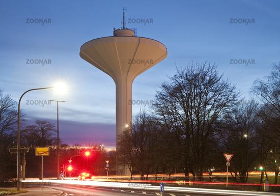 water tower Lichtscheid in the evening, Wuppertal, North Rhine-Westphalia, Germany