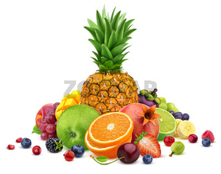 Heap of different whole and sliced tropical fruits isolated on white background with clipping path