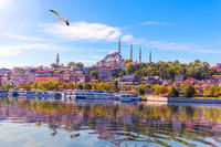 View on the Suleymaniye Mosque from Eminonu pier, Istanbul