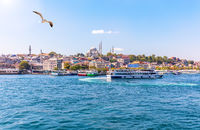 Eminonu pier, the Suleymaniye Mosque and the Bosphorus, Istanbul view