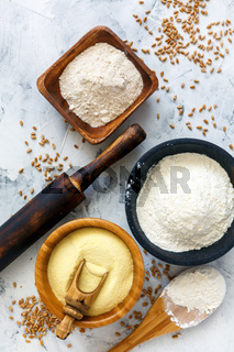 Different types of wheat flour and wheat grain.