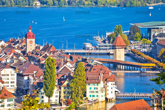 Lake Luzern and town of Lucerne cityscape view from above