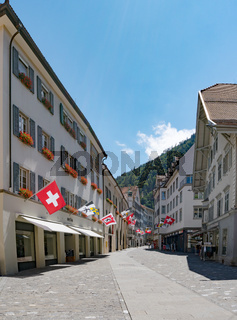 the historic old town of Chur with the Poststrasse street leading into the heart of the city