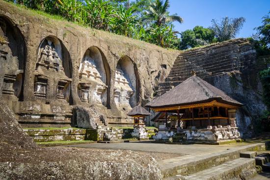 Carved rocks in Gunung Kawi temple, Ubud, Bali, Indonesia
