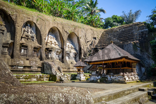 Carved rocks in Gunung Kawi temple, Ubud, Bali, Indonesia
