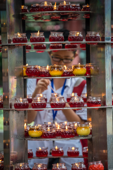 Memorial candles in the Wenshu Monastery