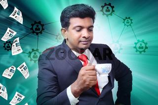 Business man in break time