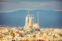 Aerial overview with Sagrada Familia on a sunny day