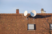 satellite dish at a roof