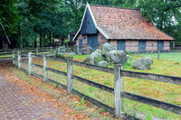 Dutch rural open-air museum with old barn