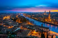 Beautiful sunset aerial view of Verona. Italy
