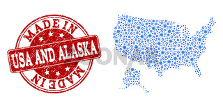 Mosaic Map of USA and Alaska with Wheel Integration and Made In Grunge Stamp