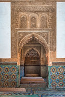 Traditional moroccan architectural design with ceramic tiles.