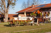 Warngau, Germany, Bavaria 27.10.2019: Horse and cart at the Leonhardifahrt Warngau