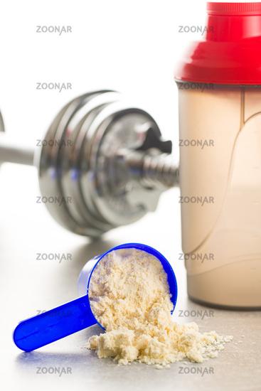 Whey protein powder.