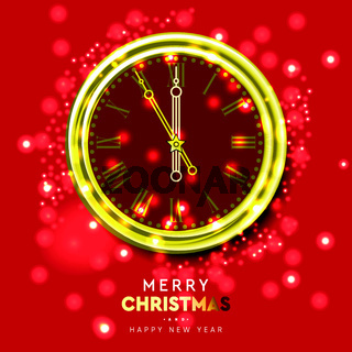 2020 New Year shiny gold clock, five minutes to midnight. Merry Christmas. Vector illustration.