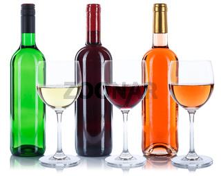 Wein Flaschen Glas Weinflaschen Weinglas Rotwein Weißwein Rose freigestellt Freisteller