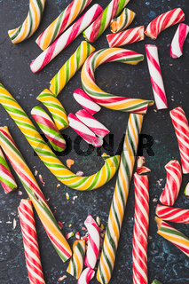 High angle view of a shattered candy canes