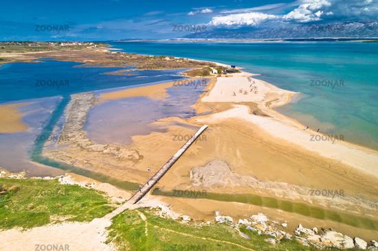 Queen's beach in Nin sandbar aerial view