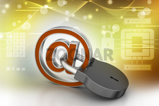 e-mail sign with padlock