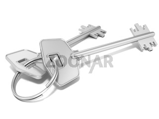 Door keys isolated on white