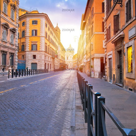 Colorful empty street of Rome dawn view