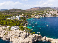 Aerial view, natural harbor and coast of Cala Fornells, Paguera region, Balearic Islands, Spain