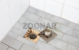 Floor drain in an old shower