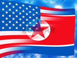 North Korea And United States Waving Flag 3d Illustration